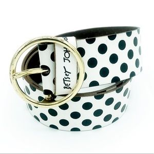 Betsey Johnson PolkaDot Leather Belt Black White L